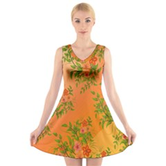 Flowers Background Backdrop Floral V-Neck Sleeveless Skater Dress
