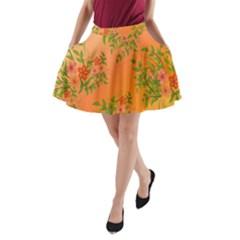 Flowers Background Backdrop Floral A-Line Pocket Skirt