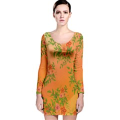 Flowers Background Backdrop Floral Long Sleeve Velvet Bodycon Dress