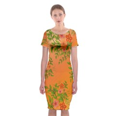 Flowers Background Backdrop Floral Classic Short Sleeve Midi Dress