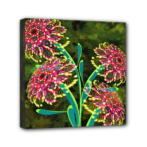 Flowers Abstract Decoration Mini Canvas 6  X 6