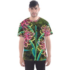 Flowers Abstract Decoration Men s Sport Mesh Tee