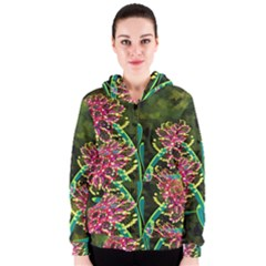 Flowers Abstract Decoration Women s Zipper Hoodie