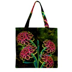 Flowers Abstract Decoration Zipper Grocery Tote Bag