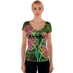 Flowers Abstract Decoration Women s V-Neck Cap Sleeve Top