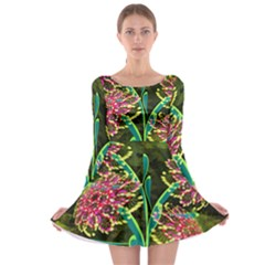Flowers Abstract Decoration Long Sleeve Skater Dress