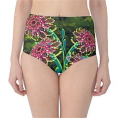 Flowers Abstract Decoration High Waist Bikini Bottoms