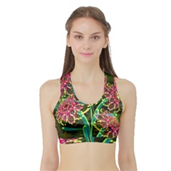 Flowers Abstract Decoration Sports Bra With Border