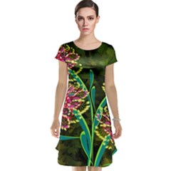 Flowers Abstract Decoration Cap Sleeve Nightdress