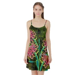Flowers Abstract Decoration Satin Night Slip