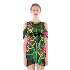 Flowers Abstract Decoration Shoulder Cutout One Piece