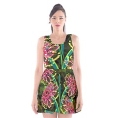 Flowers Abstract Decoration Scoop Neck Skater Dress