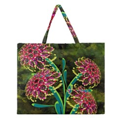 Flowers Abstract Decoration Zipper Large Tote Bag