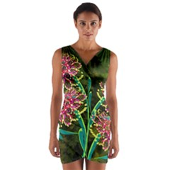 Flowers Abstract Decoration Wrap Front Bodycon Dress