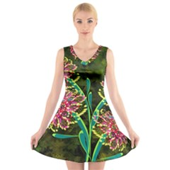 Flowers Abstract Decoration V Neck Sleeveless Skater Dress