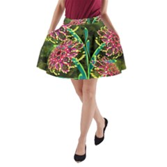 Flowers Abstract Decoration A Line Pocket Skirt
