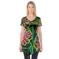 Flowers Abstract Decoration Short Sleeve Tunic