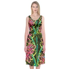 Flowers Abstract Decoration Midi Sleeveless Dress