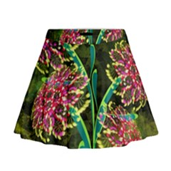 Flowers Abstract Decoration Mini Flare Skirt