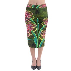 Flowers Abstract Decoration Midi Pencil Skirt