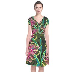 Flowers Abstract Decoration Short Sleeve Front Wrap Dress