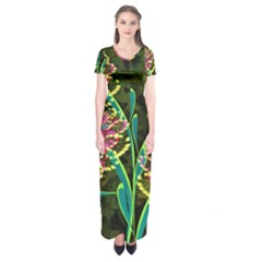 Flowers Abstract Decoration Short Sleeve Maxi Dress