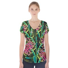 Flowers Abstract Decoration Short Sleeve Front Detail Top
