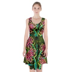 Flowers Abstract Decoration Racerback Midi Dress