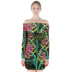 Flowers Abstract Decoration Long Sleeve Off Shoulder Dress