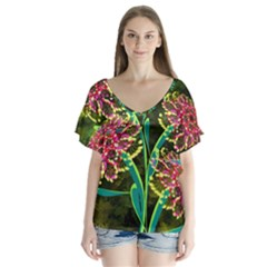 Flowers Abstract Decoration Flutter Sleeve Top