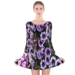 Flowers Blossom Bloom Plant Nature Long Sleeve Velvet Skater Dress