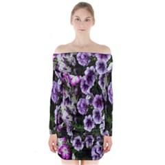 Flowers Blossom Bloom Plant Nature Long Sleeve Off Shoulder Dress