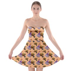 Flowers Girl Barrow Wheel Barrow Strapless Bra Top Dress