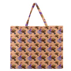 Flowers Girl Barrow Wheel Barrow Zipper Large Tote Bag