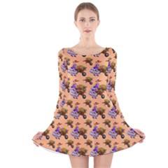 Flowers Girl Barrow Wheel Barrow Long Sleeve Velvet Skater Dress