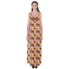 Flowers Girl Barrow Wheel Barrow Empire Waist Maxi Dress