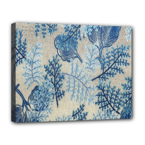 Flowers Blue Patterns Fabric Canvas 14  x 11