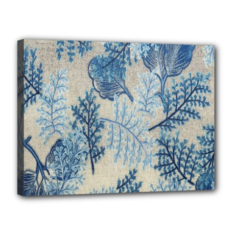 Flowers Blue Patterns Fabric Canvas 16  X 12