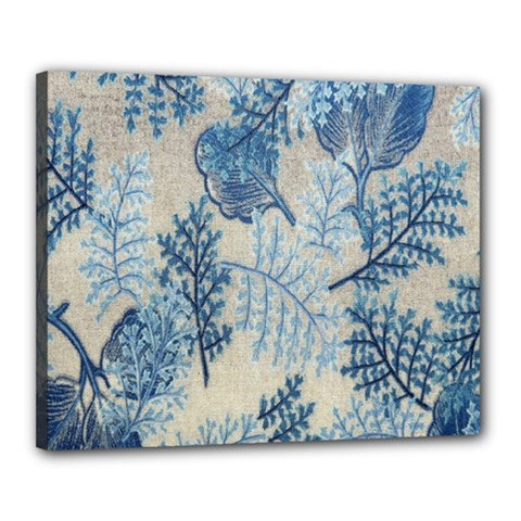 Flowers Blue Patterns Fabric Canvas 20  X 16