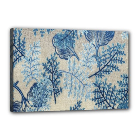 Flowers Blue Patterns Fabric Canvas 18  X 12