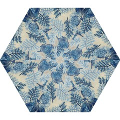 Flowers Blue Patterns Fabric Mini Folding Umbrellas