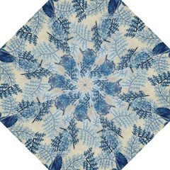 Flowers Blue Patterns Fabric Hook Handle Umbrellas (Large)
