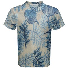 Flowers Blue Patterns Fabric Men s Cotton Tee
