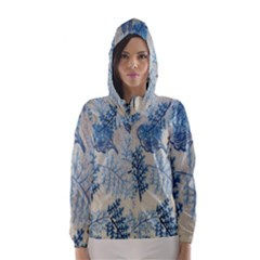 Flowers Blue Patterns Fabric Hooded Wind Breaker (Women)