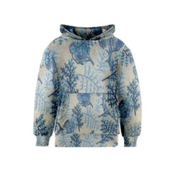 Flowers Blue Patterns Fabric Kids  Pullover Hoodie