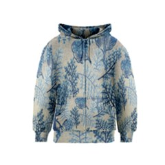 Flowers Blue Patterns Fabric Kids  Zipper Hoodie