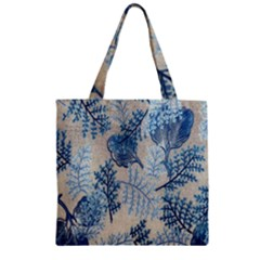 Flowers Blue Patterns Fabric Zipper Grocery Tote Bag