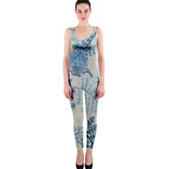 Flowers Blue Patterns Fabric OnePiece Catsuit