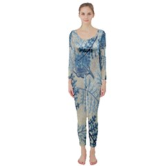 Flowers Blue Patterns Fabric Long Sleeve Catsuit