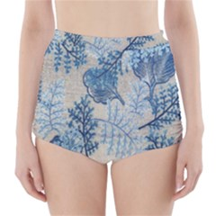 Flowers Blue Patterns Fabric High-Waisted Bikini Bottoms